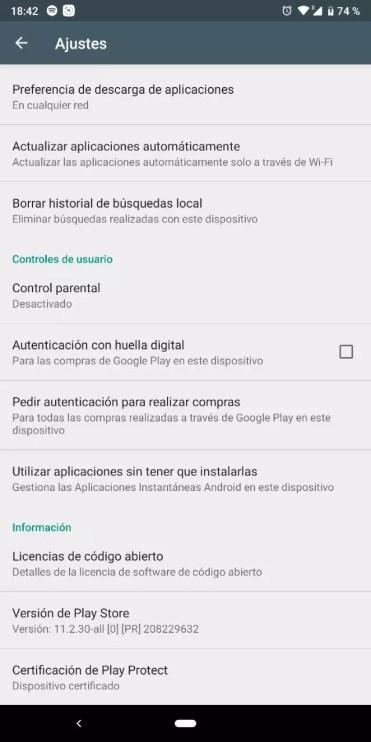 Ajustes de Play Store para Android