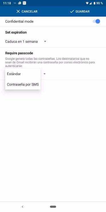 Contraseña correo Modo Confidencial en Gmail
