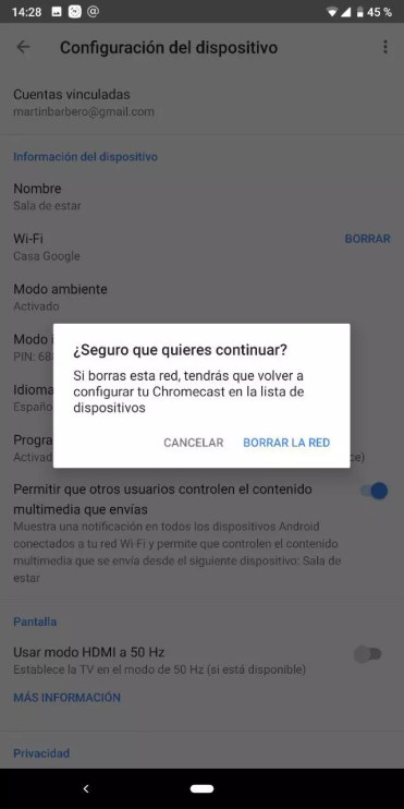 Eliminar red WiFi en Chromecast