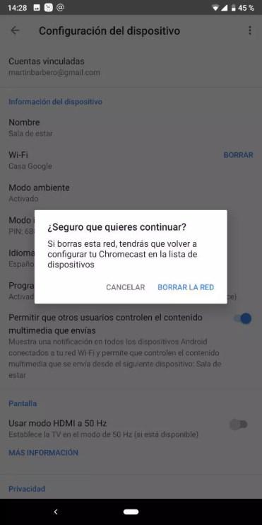 Eliminar red WiFi en Chromecast