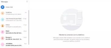 Interfaz clara en el uso de Mensajes de Android web
