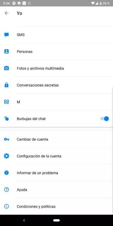 Opciones de la aplicación Facebook Messenger