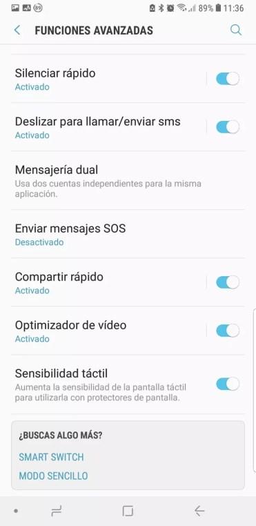 Ajustes de sensibilidad del panel en el Samsung Galaxy Note 9