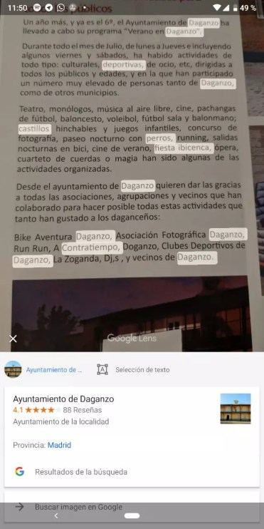 Imagen traducción con Lens en Google Fotos