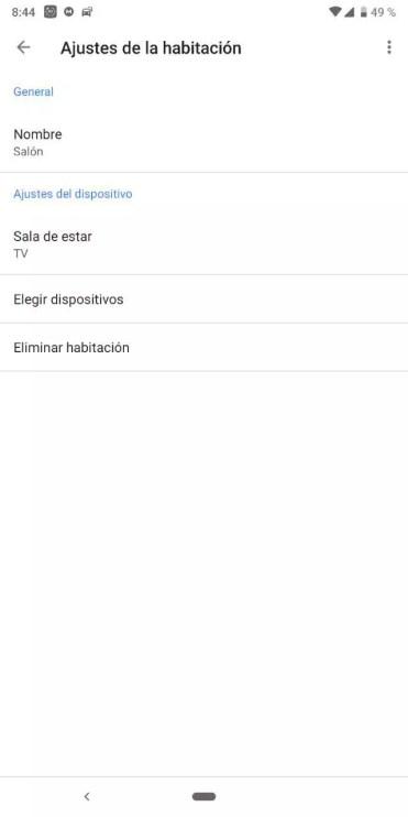Ajustes dispositivo en Google Home