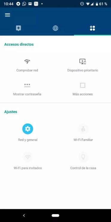 Opciones de configuración en Google WiFi