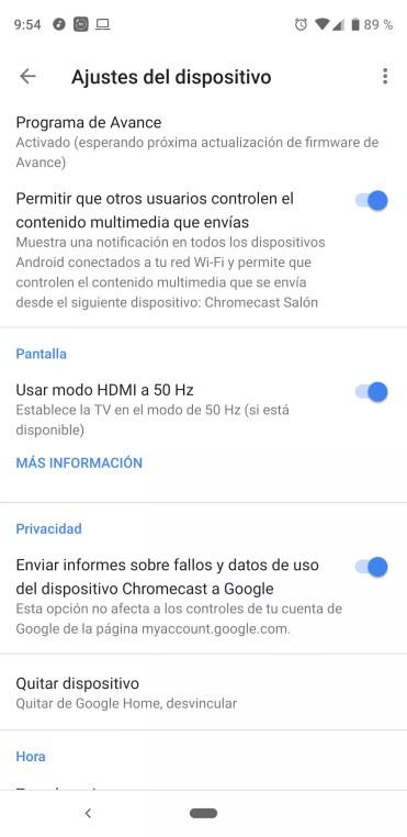 Opciones de la aplicación Home para Chromecast