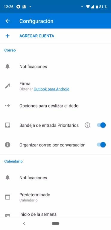 Ajustes para configurar una cuenta de Gmail en Outlook