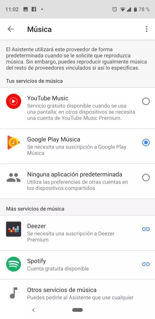 Selección app música asistente de Google