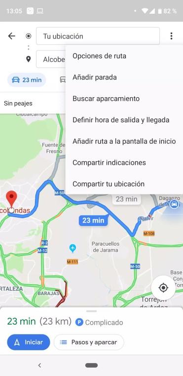 Establecer horas de salida y llegada en Google Maps