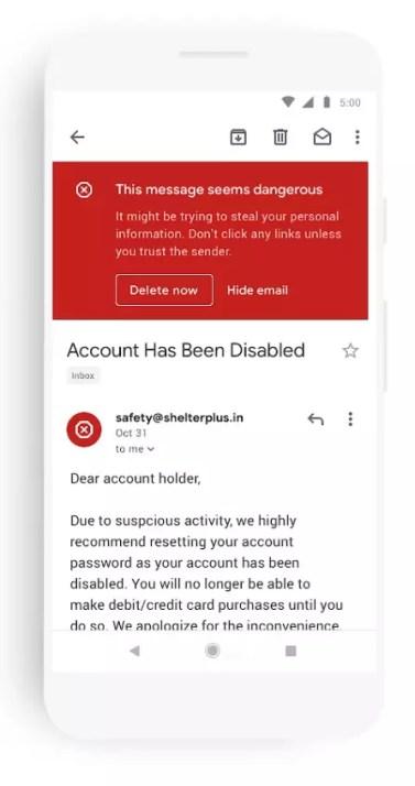 Aviso de peligro en correo en el nuevo Gmail