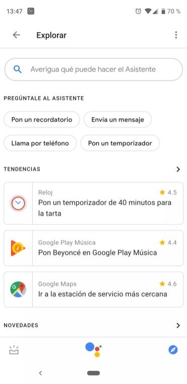 Opciones asistente de Google
