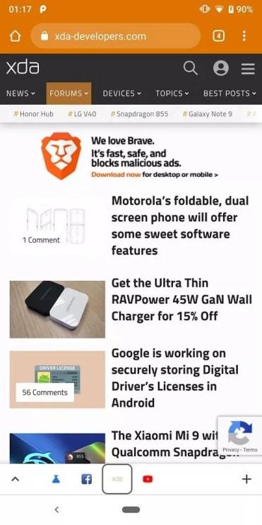 Iconos de pestañas abiertas en el navegador Chrome para Android