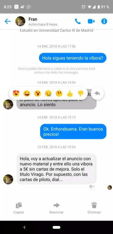 Respuestas en Facebook Messenger