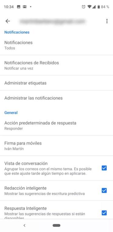 Ajustes de cuenta en Gmail