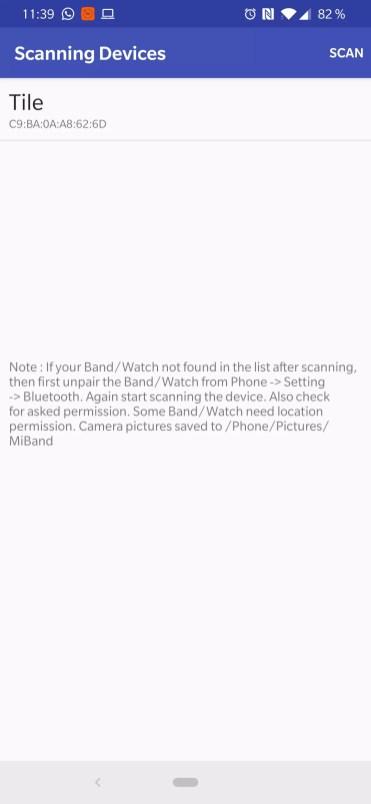 Detección Xiaomi Mi Band 3 en aplicación