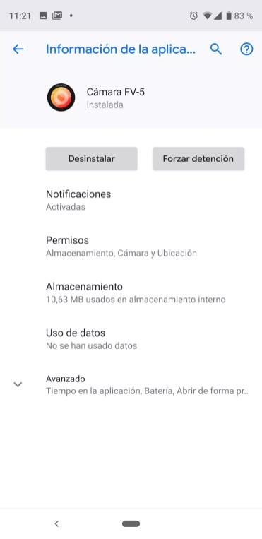 Datos aplicación Cámara FV-5