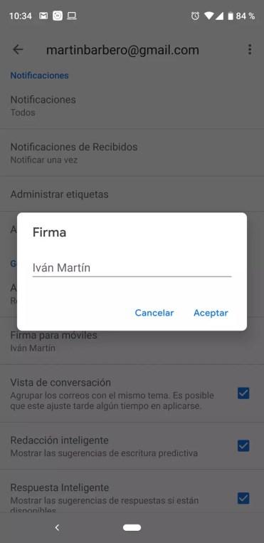 Firma en Gmail para móvil
