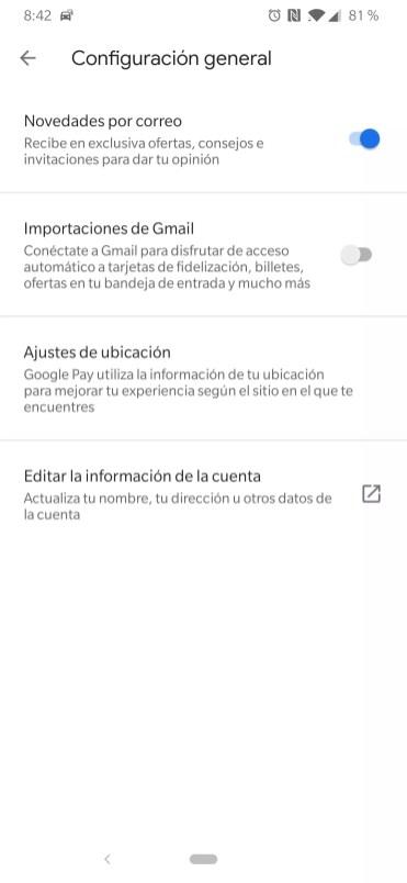 Opciones en Ajustes de Google Pay con Gmail