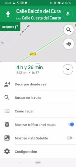 Opciones para compartir avances ruta Google Maps