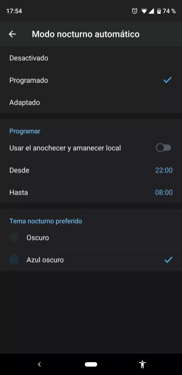 programar modo oscuro Telegram