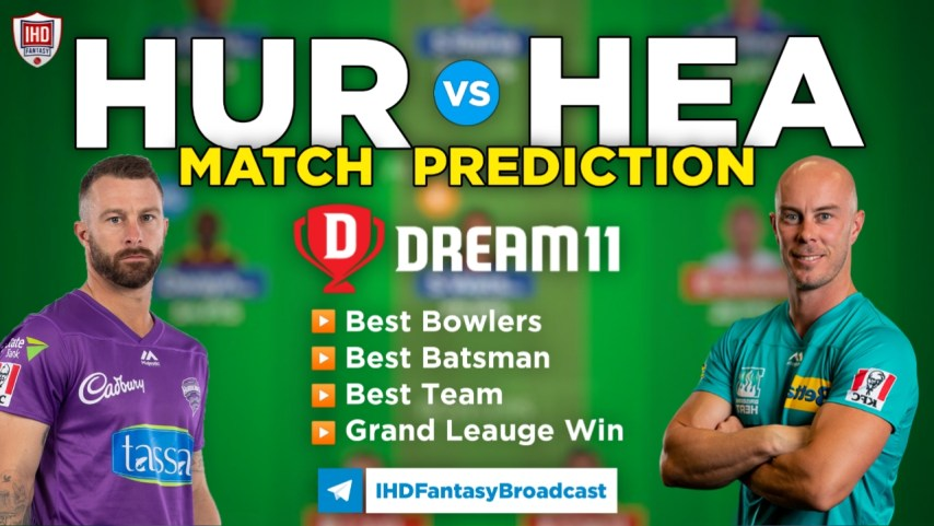 HEA vs HUR Dream11 Team Prediction Today's BBL Match,100% Winning