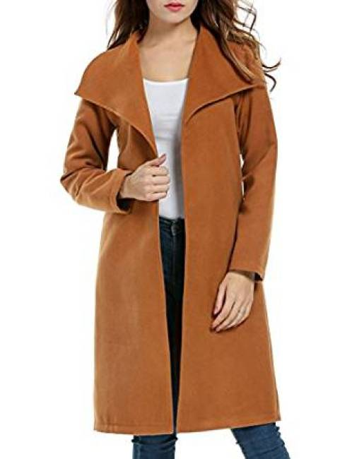 Meaneor Damen Mantel Trenchcoat Langärmlig Revers Jacke Outwear