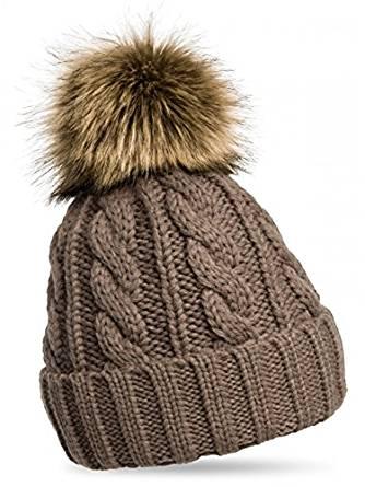 CASPAR Fashion Damen Mütze / Strickmütze mit Fellbommel
