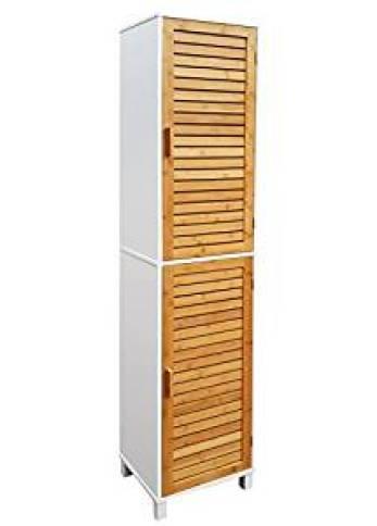 osoltus Nordic Badregal Bad Hochschrank 190cm Wandschrank Bambus braun Holz weiß