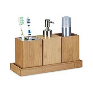 Relaxdays Bad-Accessoires-Set 4-teilig, Bambus, Zahnbürstenhalter, Seifenspender, Seifenablage