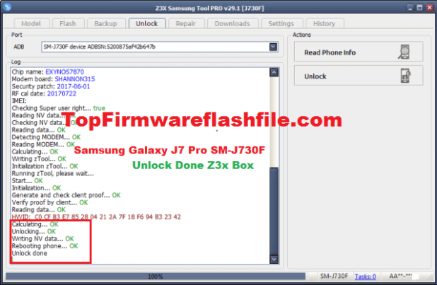 Samsung Galaxy J7 Pro SM-J730F Unlock Solution & Root File No