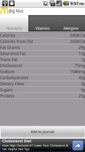 Restaurant Nutrition Screenshot2