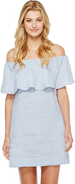 7 For All Mankind Womens Striped Off Shoulder Dress