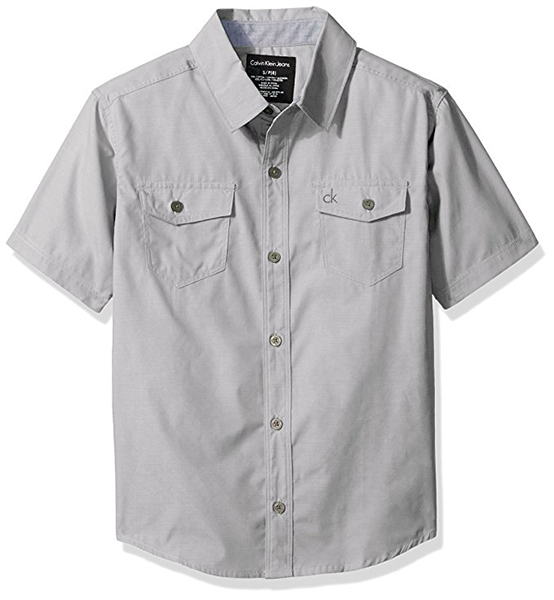 Calvin Klein Boys' Horizontal Chambray Short Sleeve Shirt
