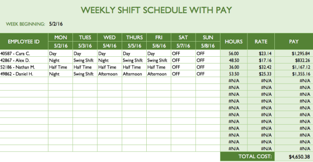Monthly Employee Schedule Template Excel Free Download