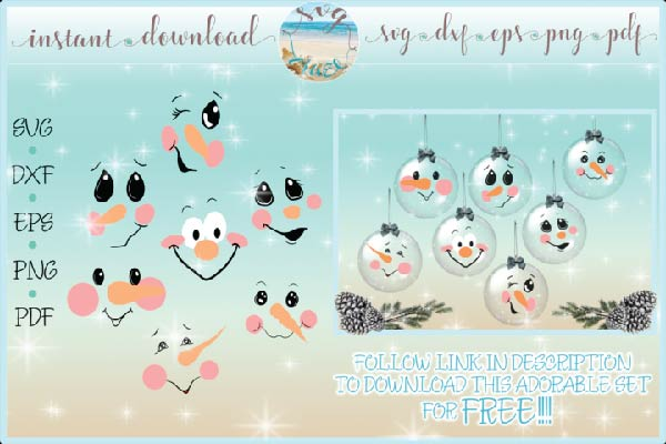 Free Snowman Face Bundle Svg for cutting machines