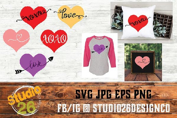 Free Valentine hearts svg files for cutting machines like Cricut or Silhouette Cameo.