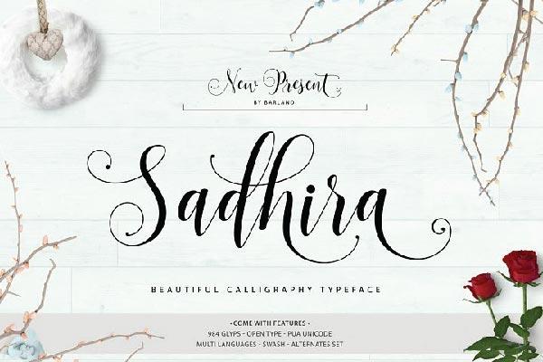 free Sadhira Script font