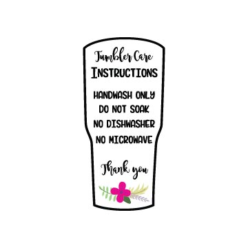 Free Tumbler Care Instructions SVG