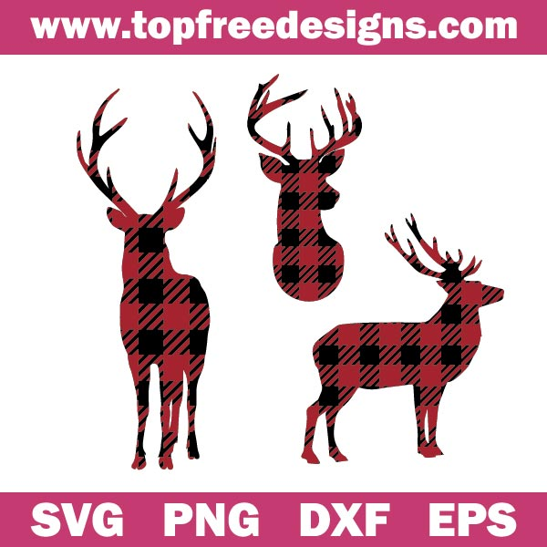 Free Deer Buffalo Plaid SVG Design for cricut