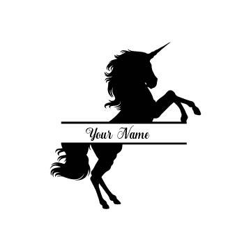 Split unicorn for monogram name or text