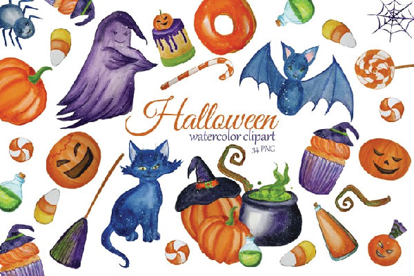 FREE Watercolor Cute Halloween Clipart