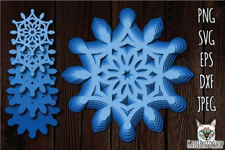 3D Layered Snowflake SVG free