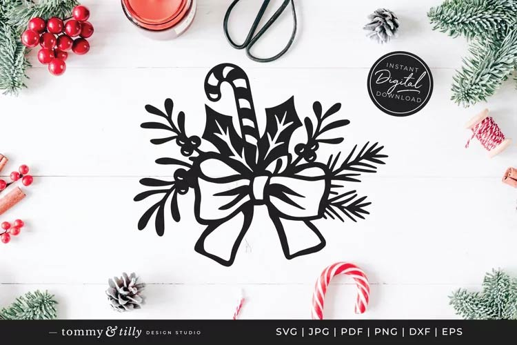 Christmas Floral Bow svg