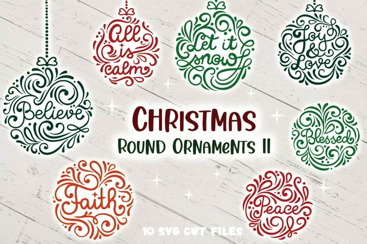 Christmas Round Ornaments svg free
