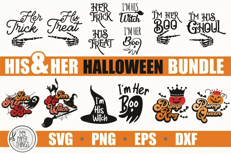 Halloween His and Her Matching shirts SVG free