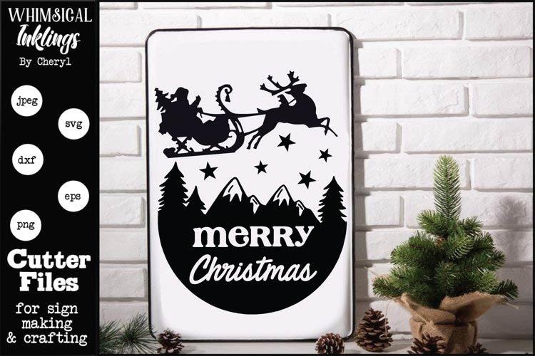 Merry Christmas Sleigh SVG free