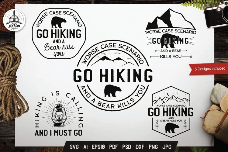Retro Hiking Badges svg free