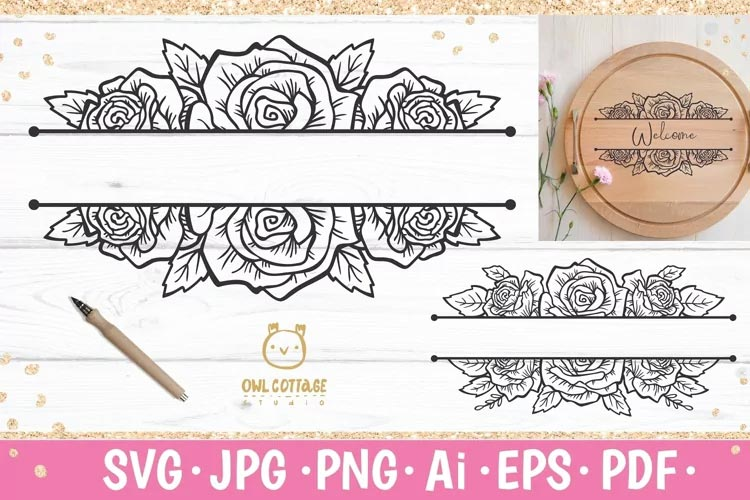 Rose monogram SVG free