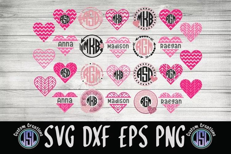 Valentine Monogram Frames svg Bundle free